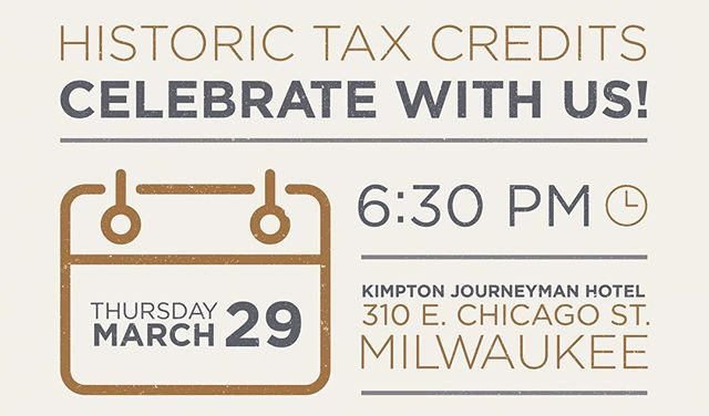 JOIN US!!!! (link in bio) . Celebration : Historic Tax Credits 🍾✨🙌🏾 . THIS THURSDAY @ The Kimpton Journeyman in Milwaukee's Historic Third Ward.