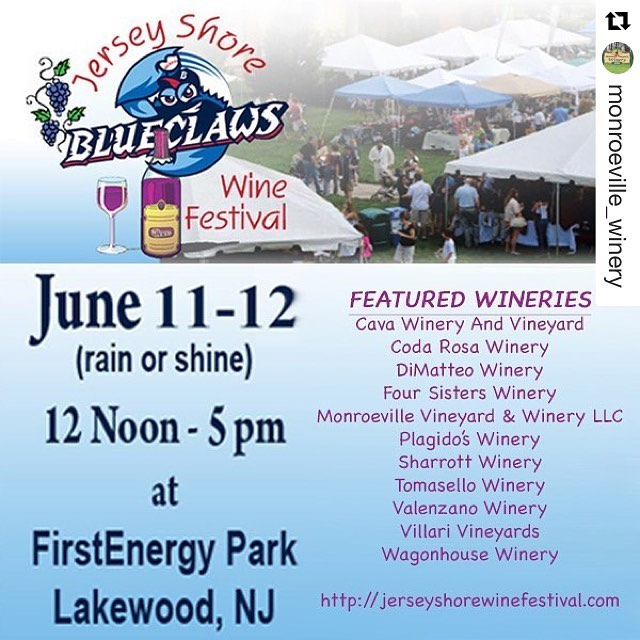 Come join us and other #Wineries this weekend at the 6th Annual Jersey Shore Wine Festival! Tickets are still on sale and for more information go to www.jerseyshorewinefestival.com #wine #festivals #jerseyshore @monroeville_winery