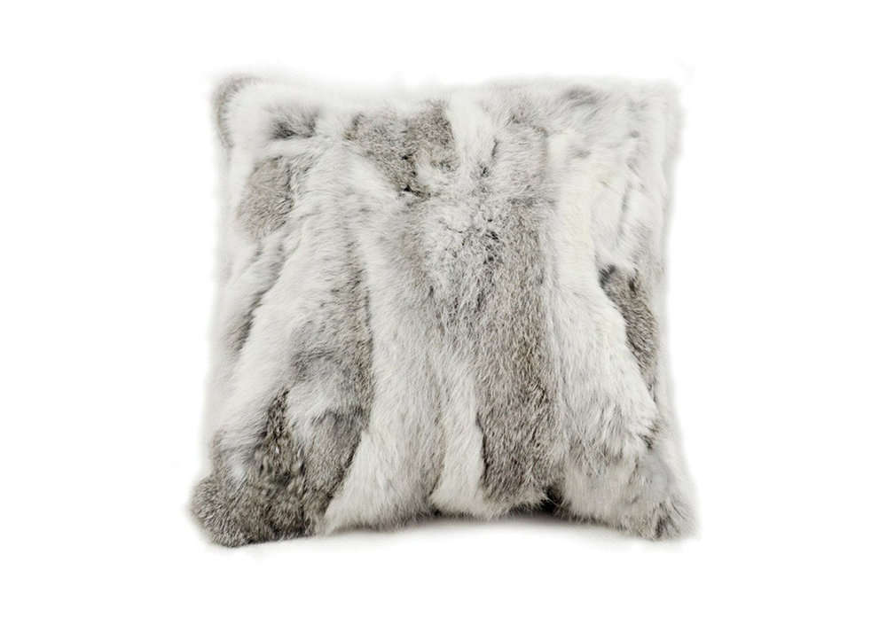 PIECED GREY RABBIT FUR CUSHION
