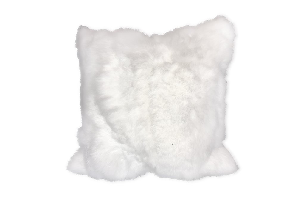 WHITE RABBIT FUR CUSHION