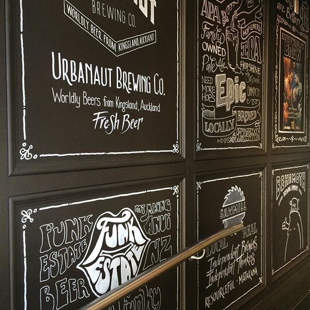The end results of my very long, very productive Monday spent at a pub. Thoroughly enjoyed it. #handdrawnletters #elapurnell #handlettering #brewonquay #blackboard #featurewall