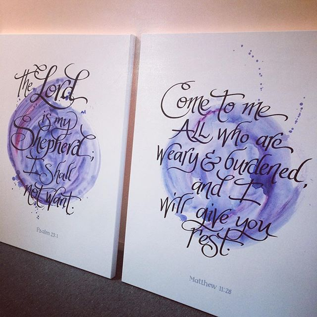 Some pro bono work for my local church- 2 large canvases to go in the foyer 😊 #handlettering #elapurnell #motivationalquotes #wordart