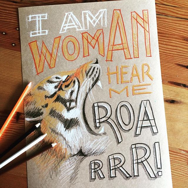 Happy Women's Day to all the lovely ladies!!! Keep on doing amazing things & supporting each other. We rise by lifting others ❤️ #handdrawnletters #handlettering #elapurnell #women #tiger
