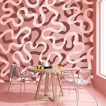 Some bold squiggles in 'nanna' pink and rust to add just the right amount of good vibes to your dining room wall. Hand drawn wall pattern to suit any style. #elapurnell #featurewall #diningroom #handdrawn #wallpaper