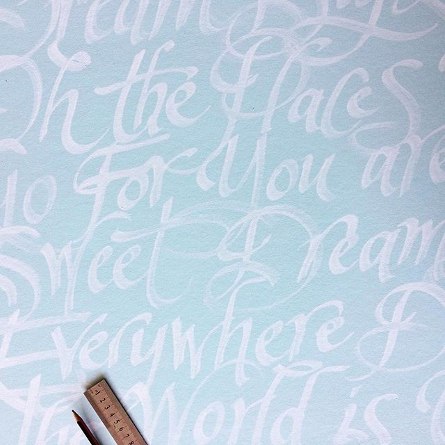 Dreamy & calm - perfect wall decoration for a bedroom. #elapurnell #duckeggblue #handlettering #featurewall #wallpaper