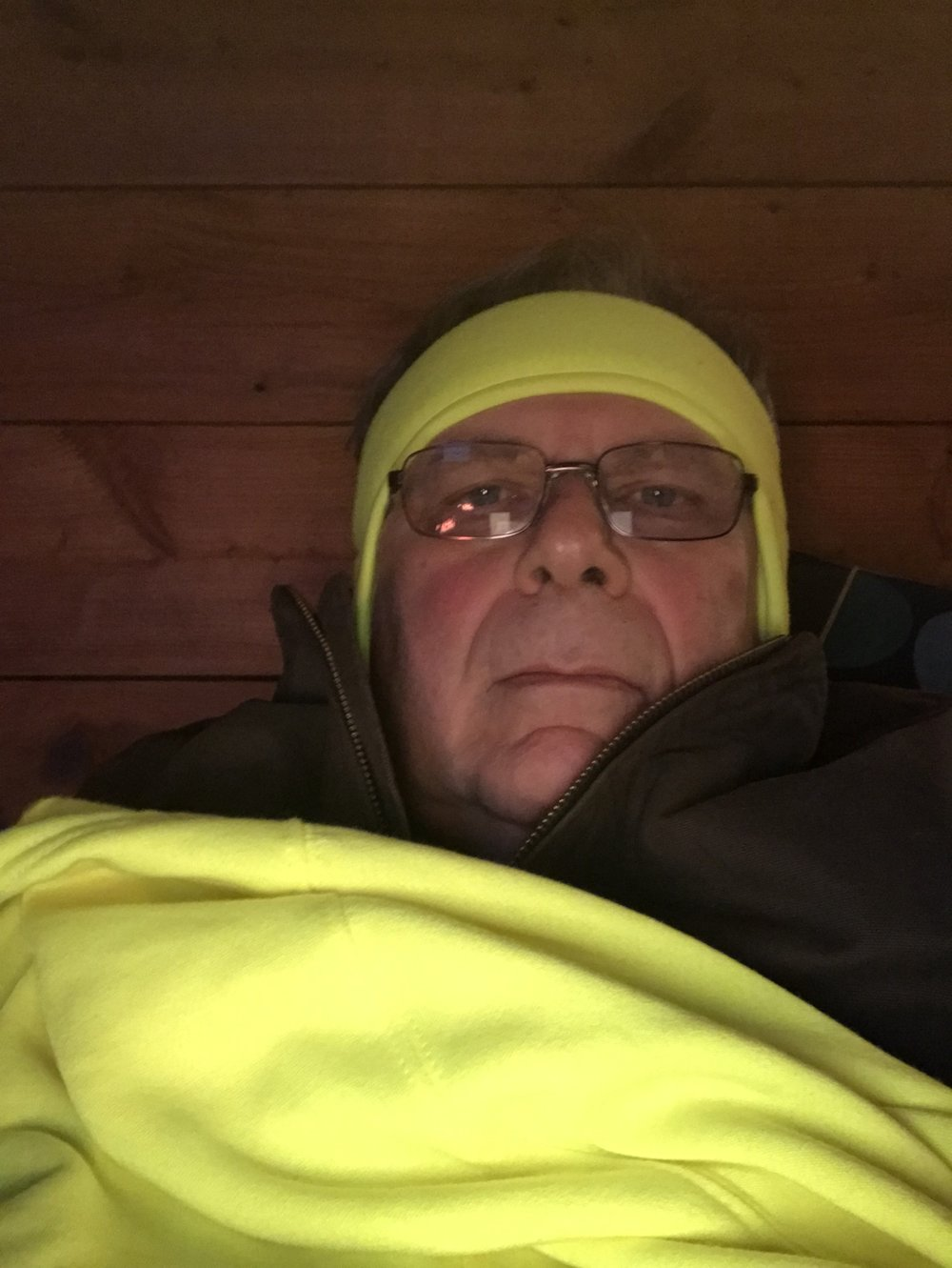 Mike, bundled up and bedding down for the night. Winter in E. Kentucky!
