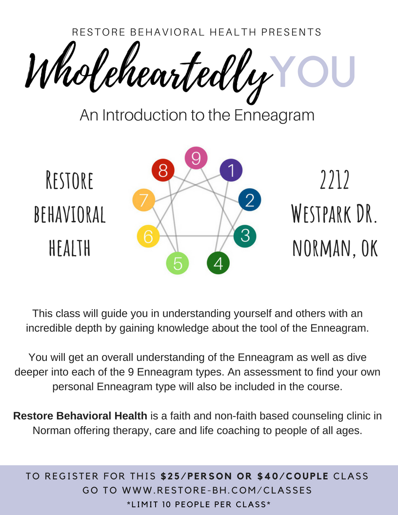 Introduction to the Enneagram. - The Enneagram class is taught by certified Enneagram coach, Kayla Meyers. Upcoming classes:Thursday, July 26th 6:00 pm- 8:00 pmRegister herefor the July class.Thursday,August 23rd 6:00 pm - 8:00 pm Register here for the August class.