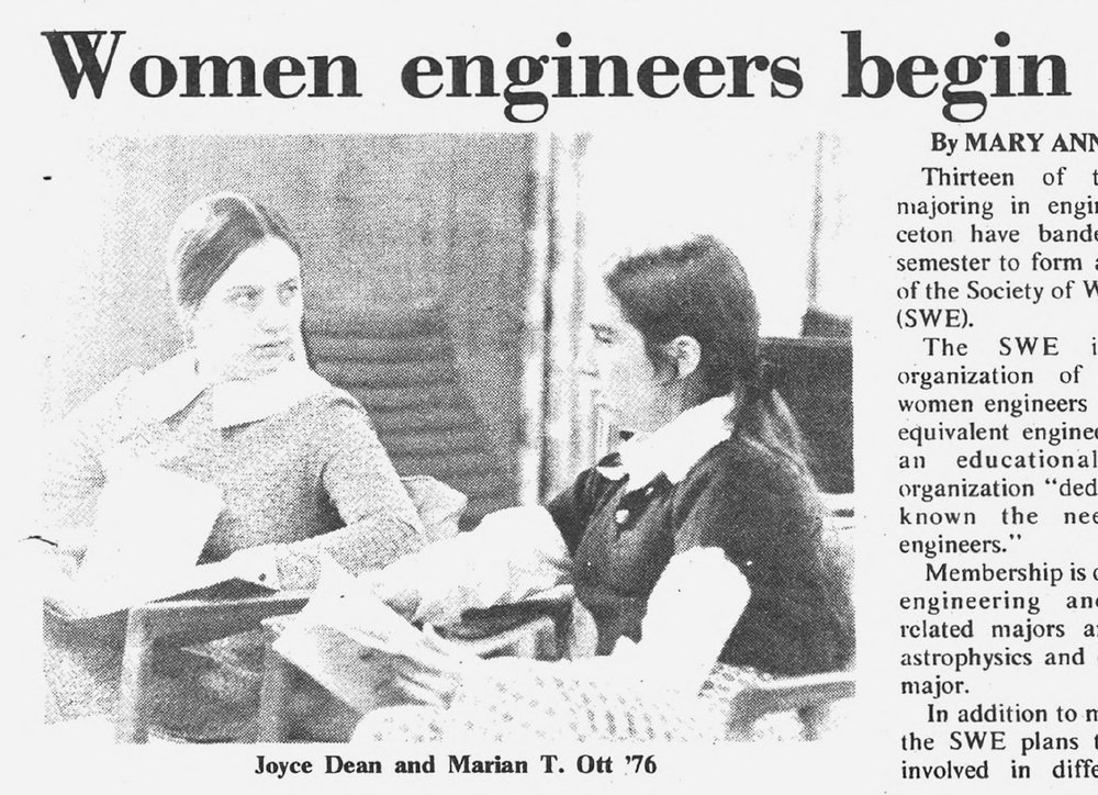 Princeton women from the Society of Women Engineers founded in 1973.
