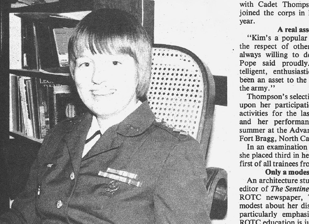 Daily Princetonian clipping featuring Kimberlee Thompson, Princeton's first female ROTC cadet commander.
