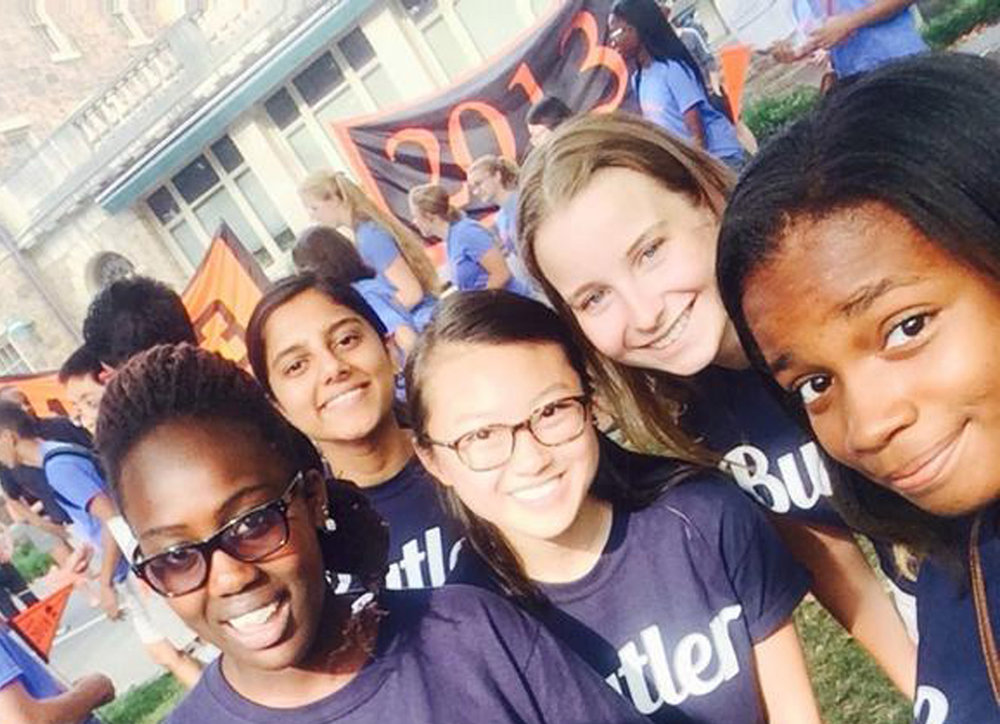 Women students from Butler College in 2017.