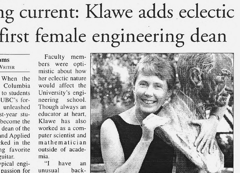 Daily Princetonian clipping featuring Maria Klawe.