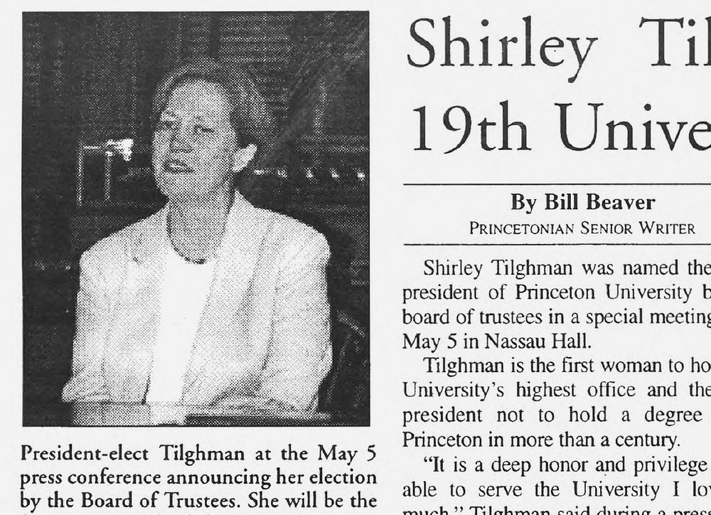 Daily Princetonian clipping featuring Shirley M. Tilghman, the first woman to be named president of the University.