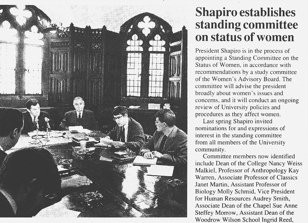 Princeton Weekly Bulletin clipping about the establishment of the Standing Committee on the Status of Women.