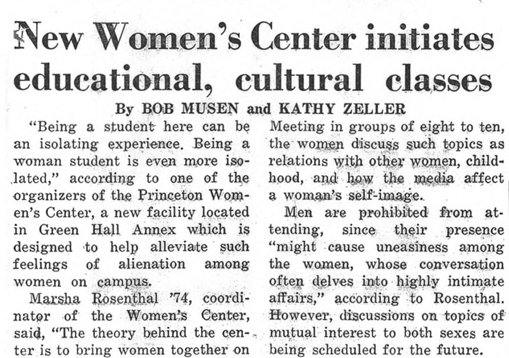 "Daily Princetonian article ""New Women's Center initiates education, cultural classes.""Princetonian."
