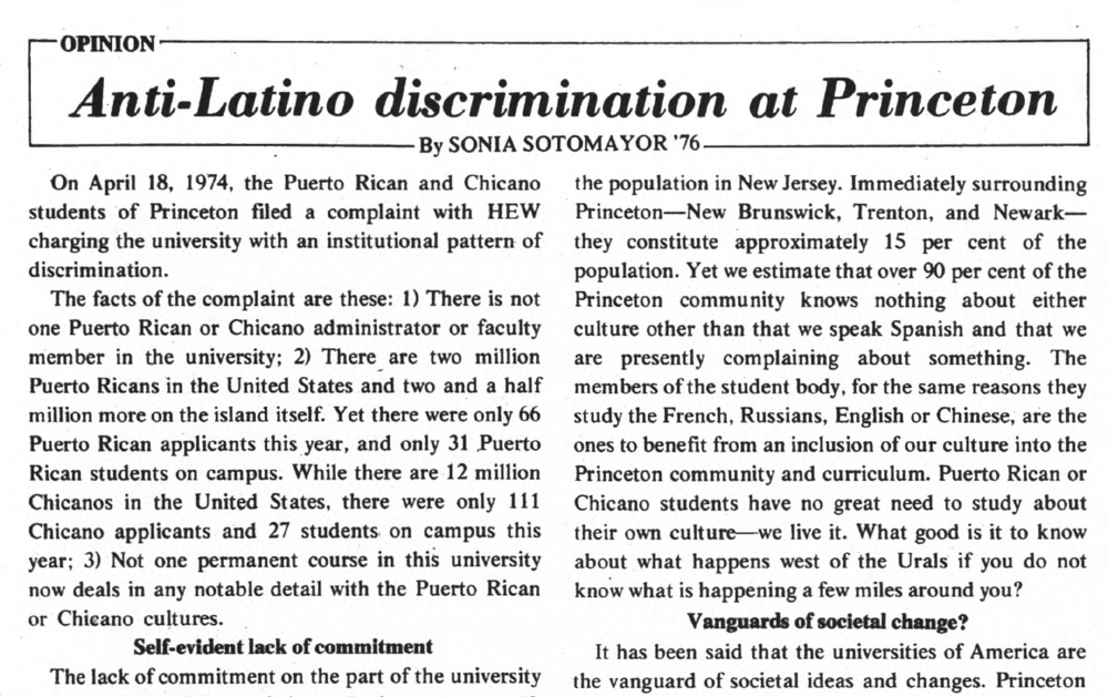 Article clipping from the Daily Princetonian of an article written by Sonia Sotomayor.