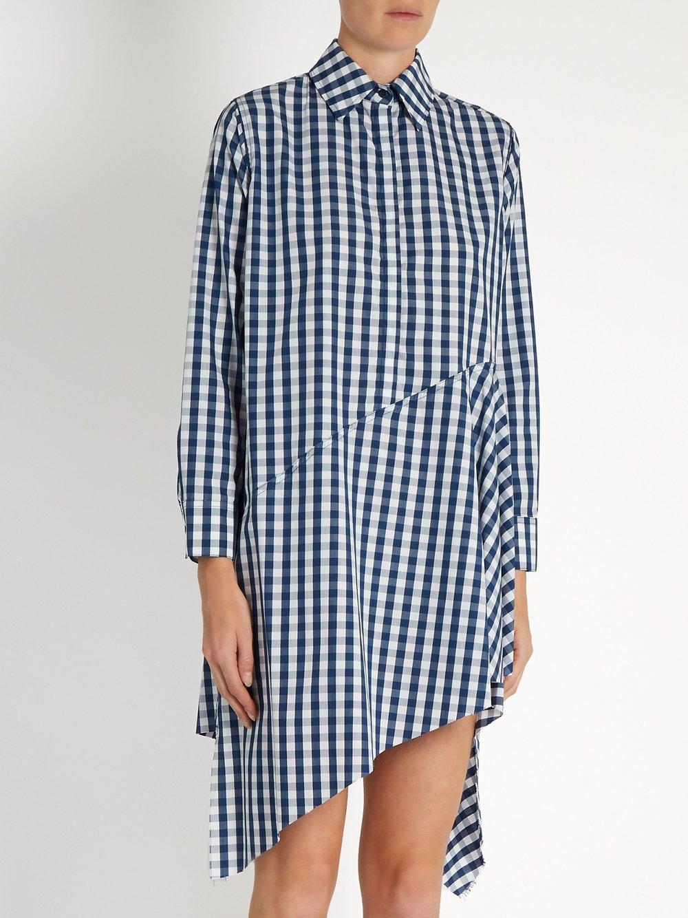 marques almeida Asymmetric-hem gingham cotton dress