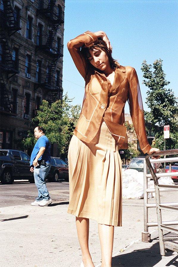 Maryam Nassir Zadeh Renata pleated skirt in camel $489
