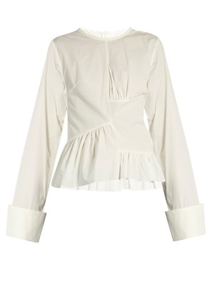 Marques Almeida Asymmetric ruched-panel long-sleeved cotton shirt $389