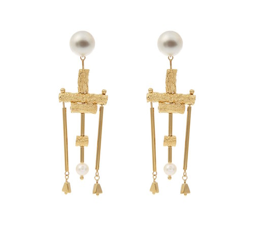 Lucy Folk Talking Heads pearl and gold-plated earrings $521