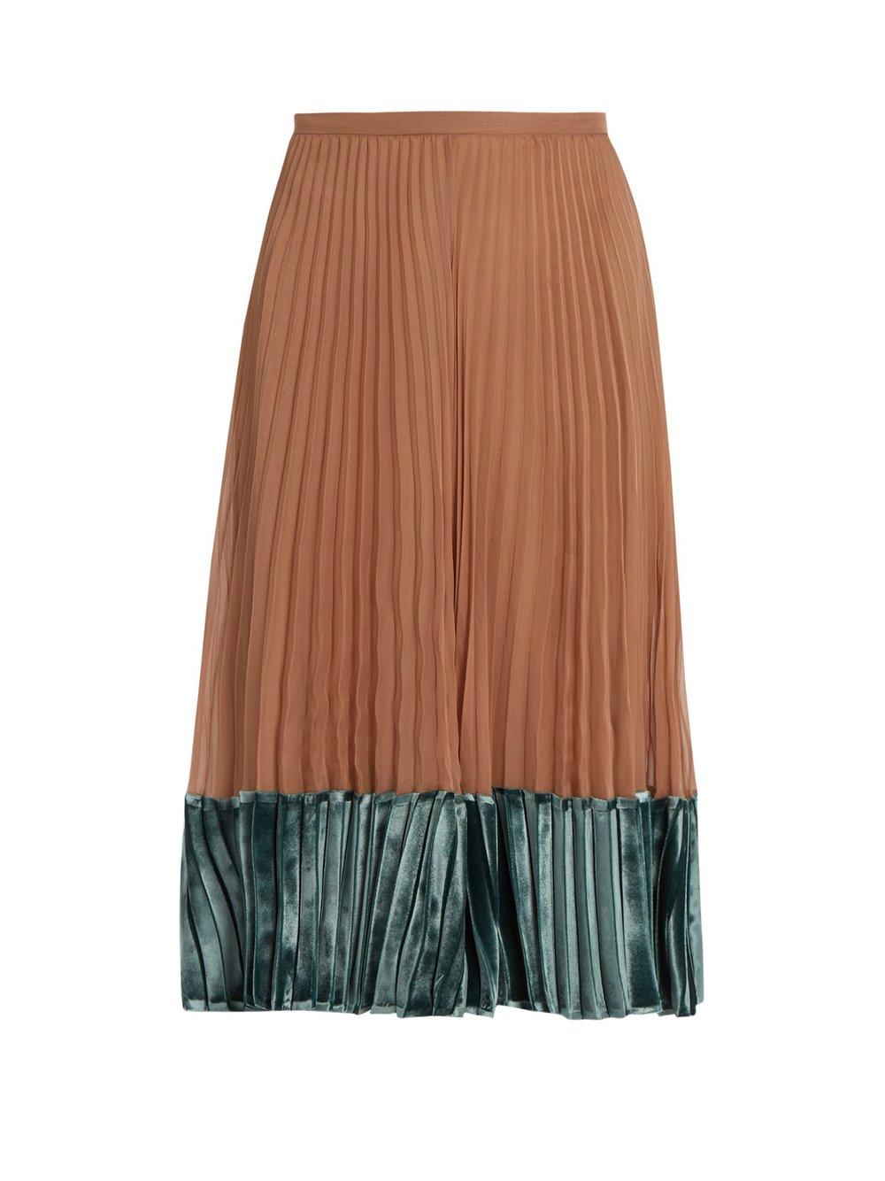 Valentino Velvet-panel pleated silk-georgette midi skirt $6,300