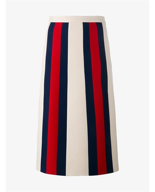 Gucci Wool Silk Blend Web Stripe Skirt $n/a