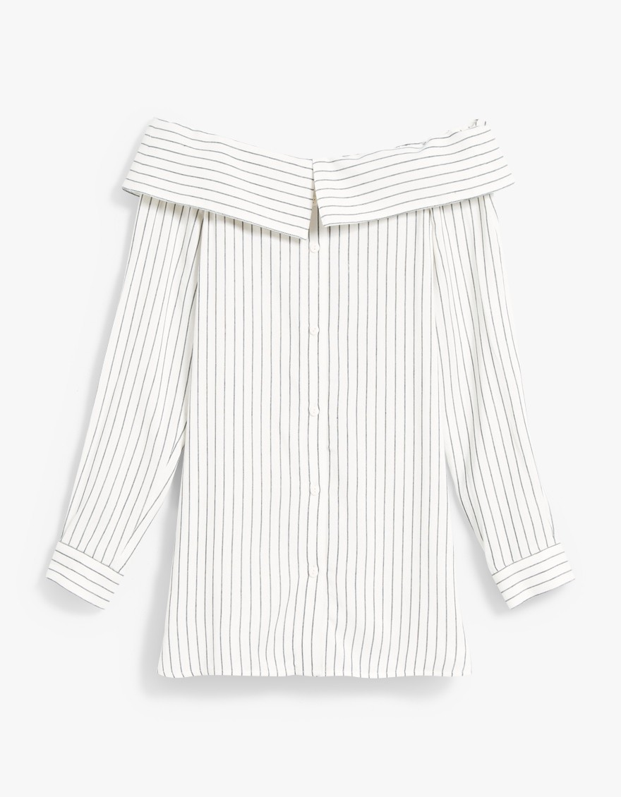 Tibi Frederic Striped Off Shoulder Top $375