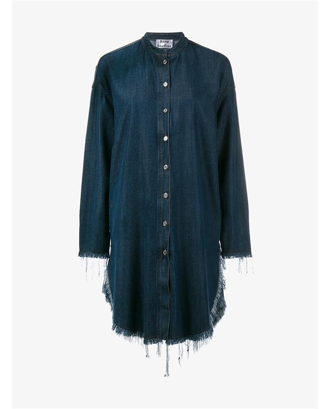 ACNE Studios Gracie frayed-edge denim shirtdress $490