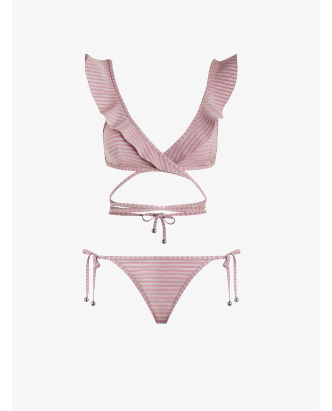 Zimmermann Caravan stripe wrap bikini $275