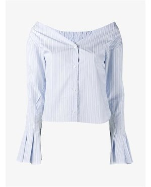 Jacquemus Off-Shoulder Striped Shirt $360