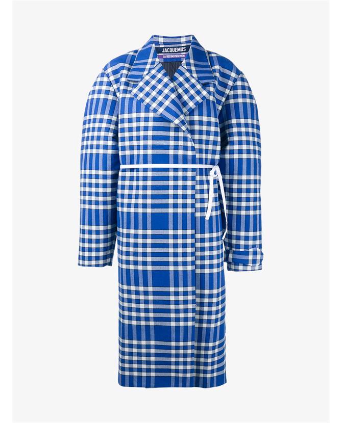 Jacquemus Oversized Cotton Wool-Blend Check Coat $775