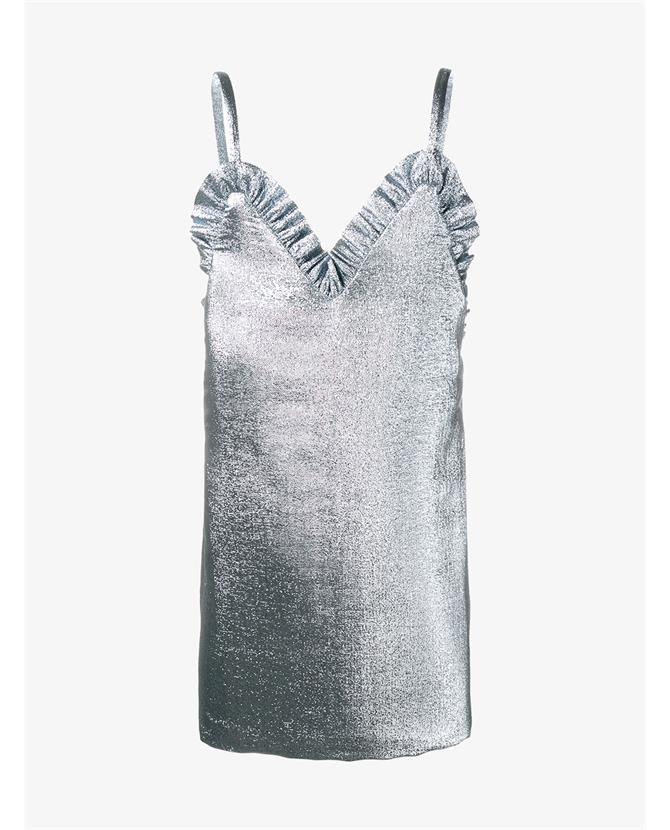 Jacquemus Ruffle Trim Lamé Mini dress $650