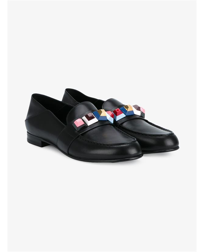 Fendi Block Embellished Leather Shoes $915