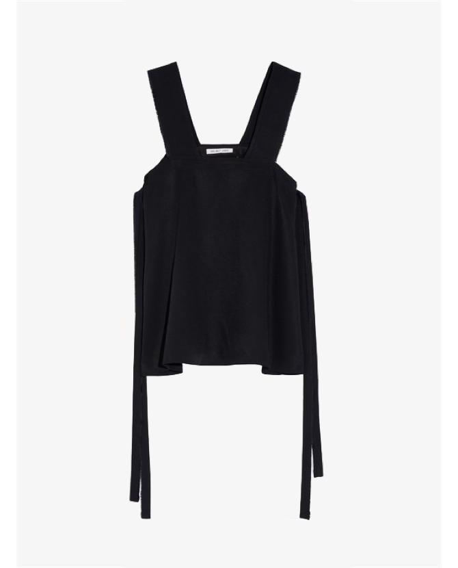 Helmut Lang Tie-side frayed twill top $489