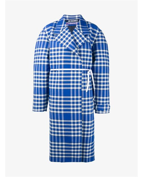Jacquemus Oversized Cotton Wool-Blend Check Coat $775