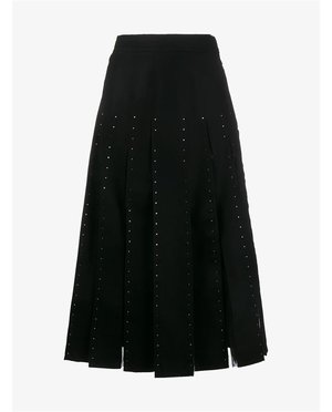 Valentino Crystal Embellished Pleated Virgin Wool Skirt $5,580