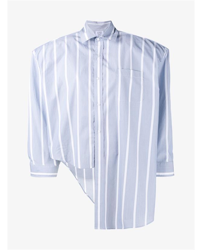 Vetements Oversized Stripe Asymmetric Shirt $715