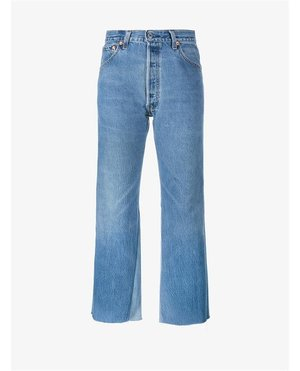 Re Done High Rise Jeans with Two Tone Detail $390