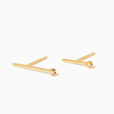 Sarah & Sebastian Diamond Line Earrings (Gold) $295
