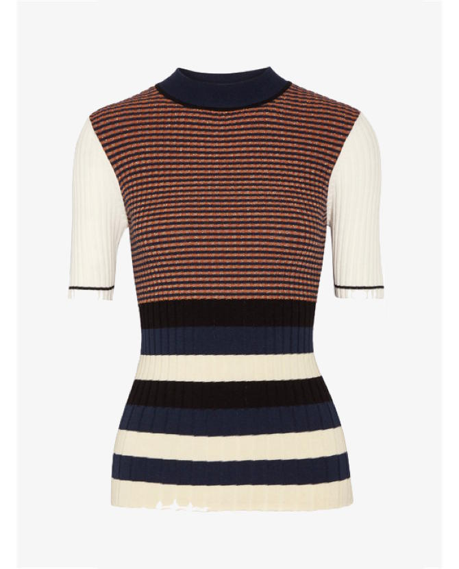 Opening Ceremony Striped metallic ribbed-knit sweater $531