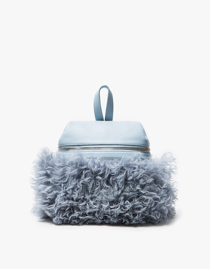Kara Sky Blue Shearling Backpack $510