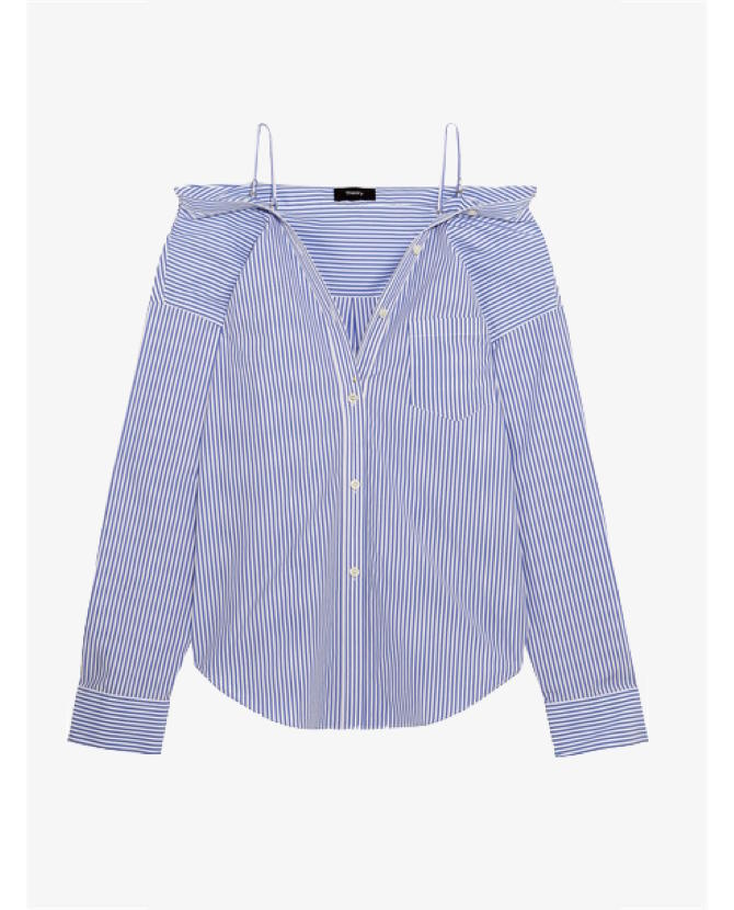 Theory Tamalee off-the-shoulder striped cotton-poplin shirt $424
