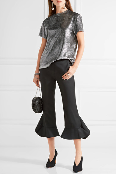 ellery metallic silver top
