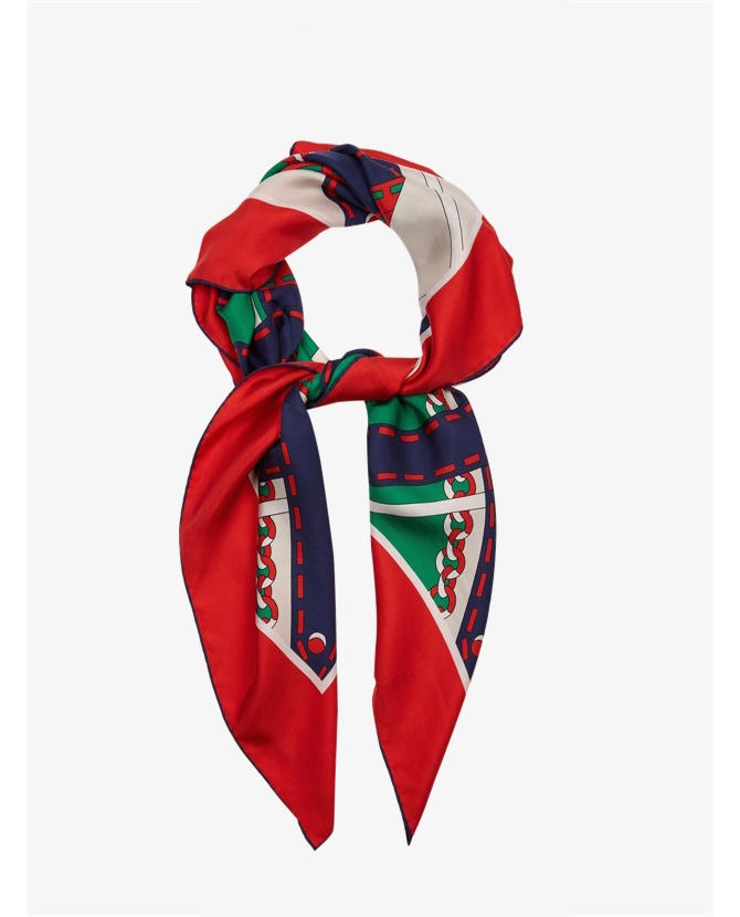 Gucci Chain-print silk twill scarf $337
