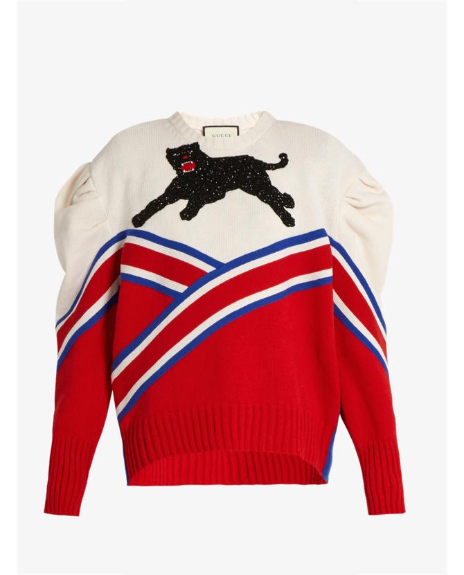 Gucci Panther-appliqué pleated-shoulder wool sweater $3,996