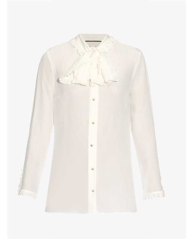 Gucci High-neck ruffled silk-crepe blouse $878