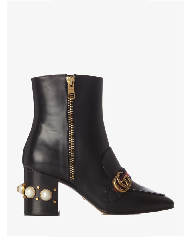 Gucci Peyton faux-pearl embellished leather boots $1,322