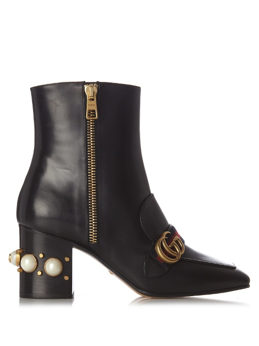 Peyton faux-pearl embellished leather boots