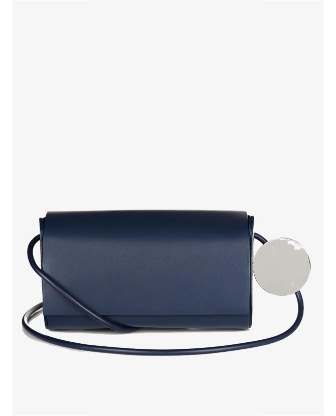 Building Block Navy Leather Petite Shoulder Bag $395