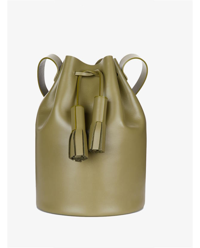 Building Block Olive Leather Tassel Bucket Bag $485
