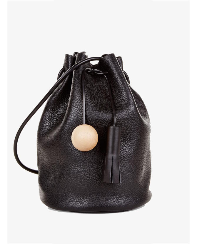 Building Block Black Leather Drawstring Bucket Bag $485